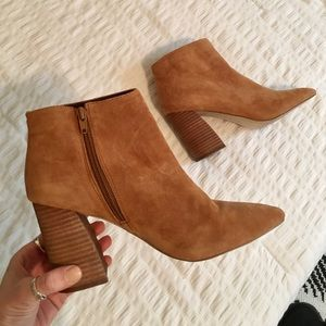 Suede Steve Madden Booties with Chunky Angled Heel
